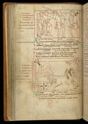 Coloured-Line Drawings Of Indulgence, In Prudentius, Psychomachia f.18v